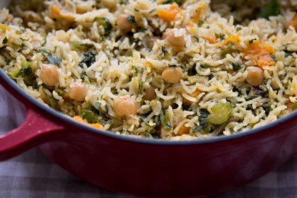 אורז עם חומוסים ודלעת